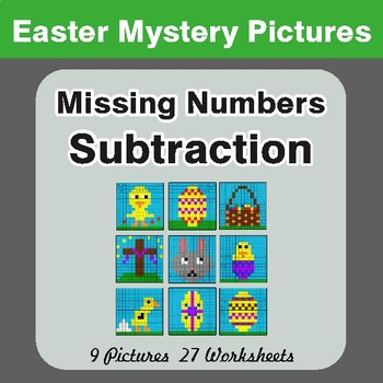 Easter Math: Missing Numbers Subtraction - Color-By-Number Math Mystery Pictures