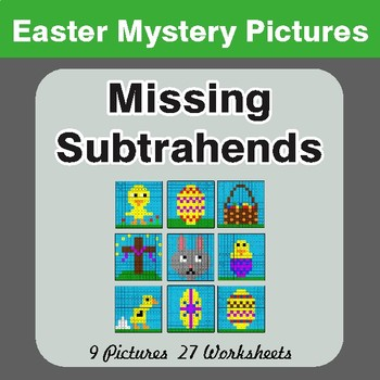 Easter Math: Missing Subtrahends - Color-By-Number Math Mystery Pictures