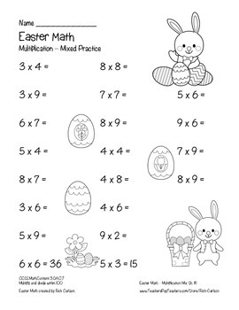 """""""Easter Math"""" Mixed Multiplication – Common Core - Fun! (black line)"""