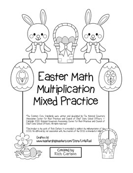 """""""Easter Math"""" Mixed Multiplication – Common Core - Fun! (black line & color)"""