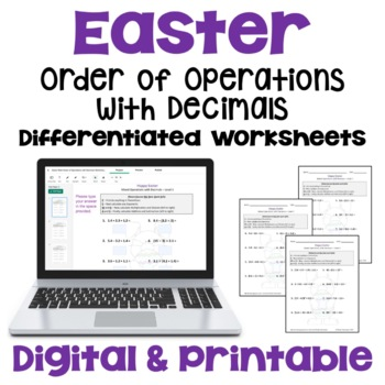 easter math mixed operations with decimals worksheets  levels