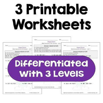 Easter Math: Mixed Operations with Decimals Worksheets (3 Levels)