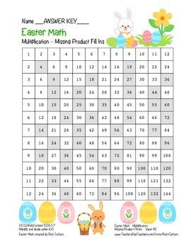 """Easter Math"" Multiplication Product Fill Ins #2  Hard  (black line & color)"