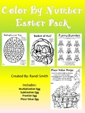 Easter Math -Multiply, Fractions, Place Value, Subtraction-Color
