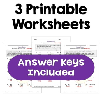 Easter Math: Multiplying Decimals Worksheets (Differentiated with 3 Levels)