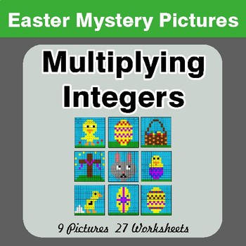 Easter Math: Multiplying Integers - Color-By-Number Math Mystery Pictures