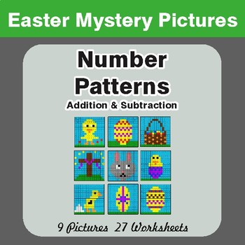 Easter Math: Number Patterns: Addition & Subtraction - Math Mystery Pictures