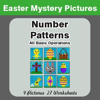 Easter Math: Number Patterns: Misc Operations - Color-By-Number Math Mystery Pictures