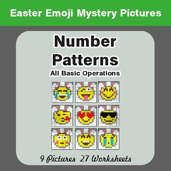 Easter Math: Number Patterns: Misc Operations - Color-By-Number Mystery Pictures