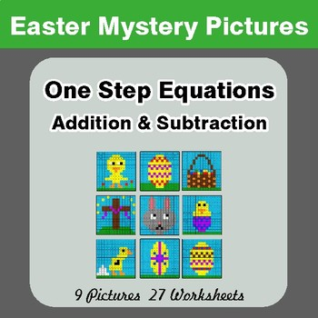 Easter Math: One Step Equation Addition & Subtraction - Math Mystery Pictures