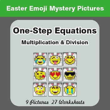 Easter Math: One Step Equations: Multiplication & Division - Math Mystery Pictures