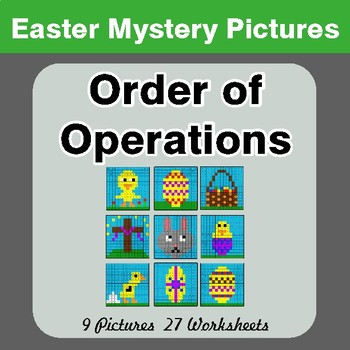 Easter Math: Order Of Operations - Color-By-Number Mystery Pictures