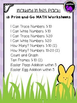 Easter Math Pack for Kindergarten