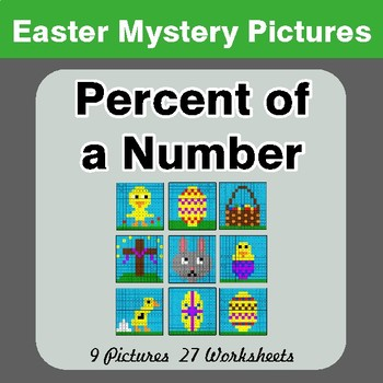 Easter Math: Percent of a number - Color-By-Number Math Mystery Pictures