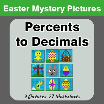 Easter Math: Percents to Decimals - Color-By-Number Math Mystery Pictures