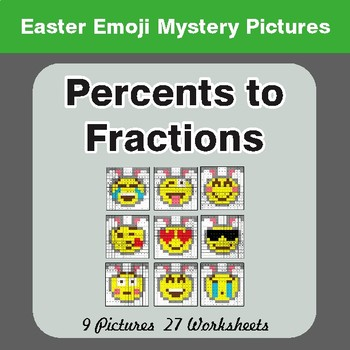 Easter Math: Percents to Fractions - Color-By-Number Math Mystery Pictures