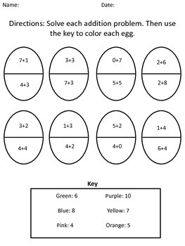 Easter Math Addition and Subtraction Worksheets
