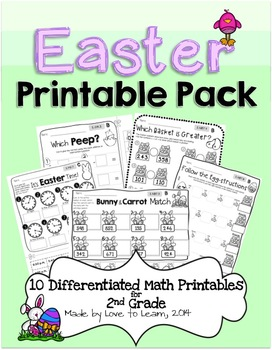 Easter Math Printables - Differentiated for 2nd Grade