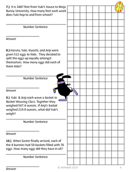 Easter / Spring Math Problems - Ninja Bunnies: Common Core Aligned 4th-6th Grade