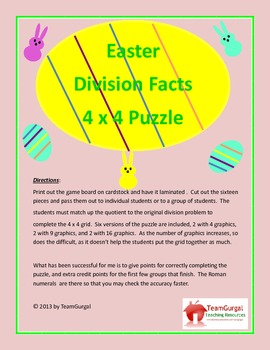 Easter Math Puzzle - Division (One and Two Digit Divisor)