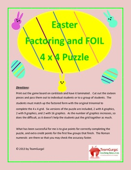 Easter Math Puzzle - Factoring and FOIL Method