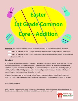 Easter Math Puzzle - First Grade Common Core - Addition Facts Puzzle