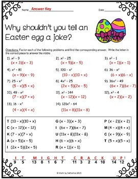 Easter Math Riddle Difference of Two Perfect Squares