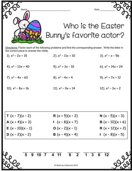 Easter Math Riddle Trinomials 2