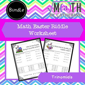 Easter Math Riddle Trinomials BUNDLE