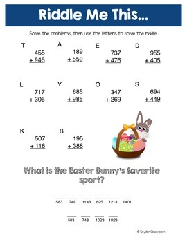Easter Addition Math Riddles
