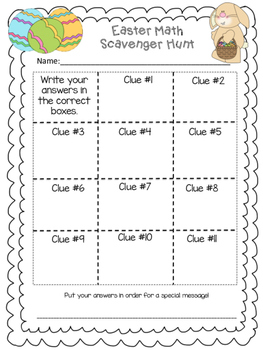 Easter Math Scavenger Hunt