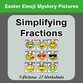 Easter Math: Simplifying Fractions - Color-By-Number Math Mystery Pictures