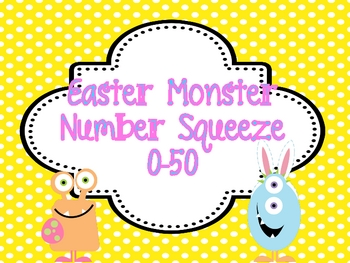 """Easter Math Station """"Monster Number Squeeze!"""" 0-50"""