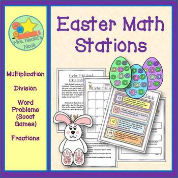 Easter Math Stations - Multiplication, Division, Word Prob