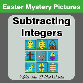 Easter Math: Subtracting Integers - Color-By-Number Mystery Pictures