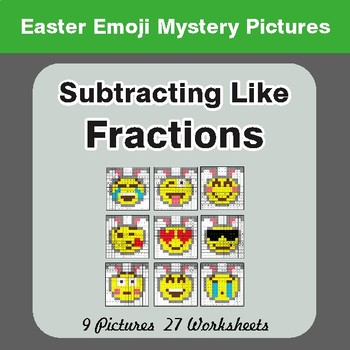 Easter Math: Subtracting Like Fractions - Color-By-Number Math Mystery Pictures