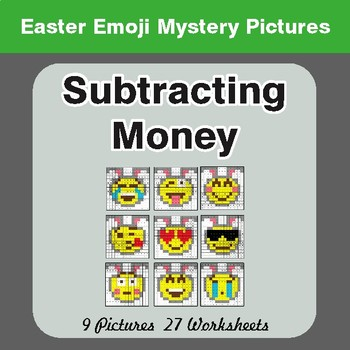 Easter Math: Subtracting Money - Color-By-Number Mystery Pictures
