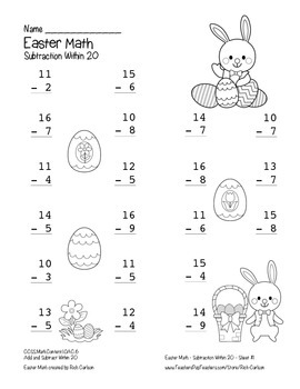 """""""Easter Math"""" Subtraction Within 20 - Common Core - Fun! (black line)"""