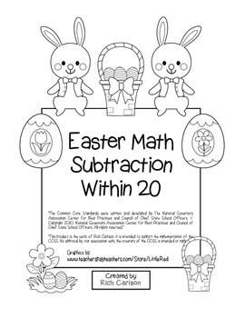 """Easter Math"" Subtraction Within 20  (color & black line)"