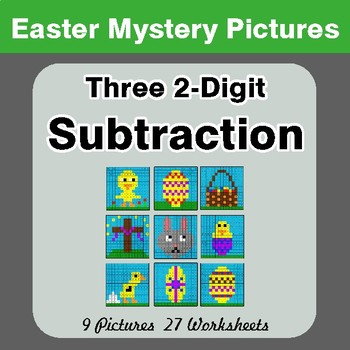 Easter Math: Three 2-digit Subtraction - Color-By-Number Math Mystery Pictures