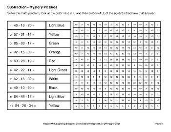 Easter Math: Three 2-digit Subtraction - Color-By-Number Mystery Pictures