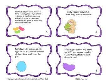 Easter Math Word Problem Task Cards