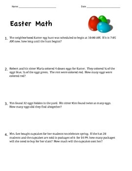 Easter Math Word Problems ~ Common Core Aligned ~ 4.OA.A3 Multistep