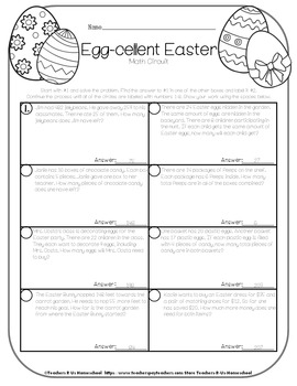 Easter Math Word Problems FREEBIE