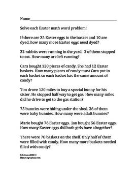 Free Easter Math Word Problems Fun Worksheet! Printable!