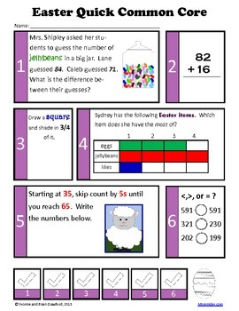 Easter Math and Literacy Activities Second Grade Common Core