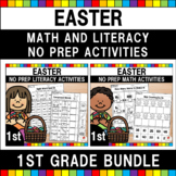 Easter Math and Literacy Worksheets (1st Grade Bundle)