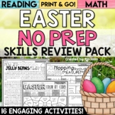 Easter Activities Math and Reading No Prep Packet and Worksheets