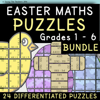 Easter Maths Puzzles Bundle: Grades 1 - 6