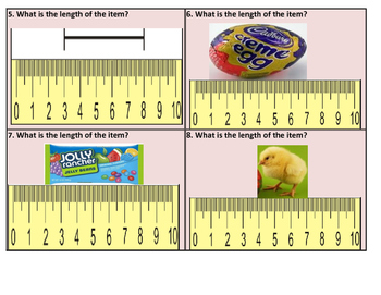 Easter Measuring with Broken Rulers Task Cards (not starting from 0) 24 Cards
